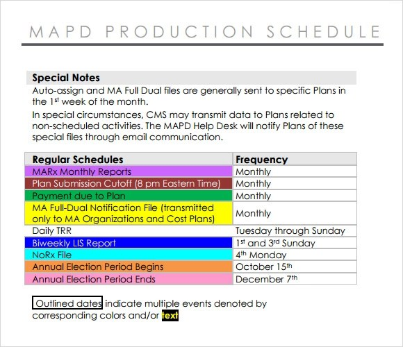 7 Production Schedule Templates Download for Free Sample Templates - daily production schedule template