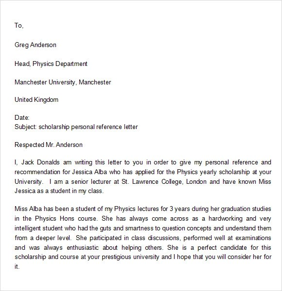 7 Personal Reference Letter Templates Download for Free Sample - personal referral letter