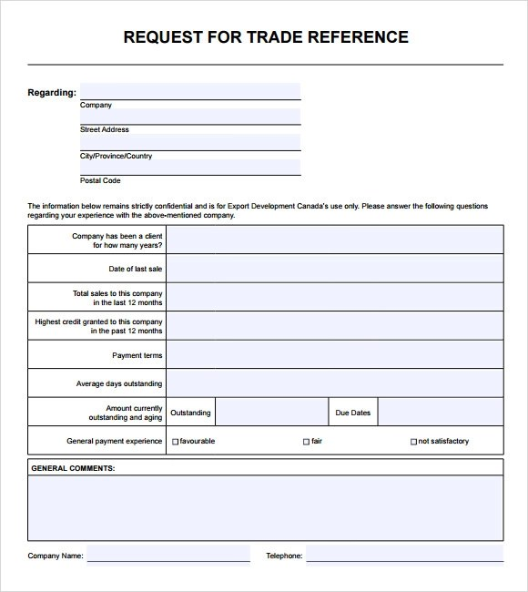 trade reference template - Towerssconstruction