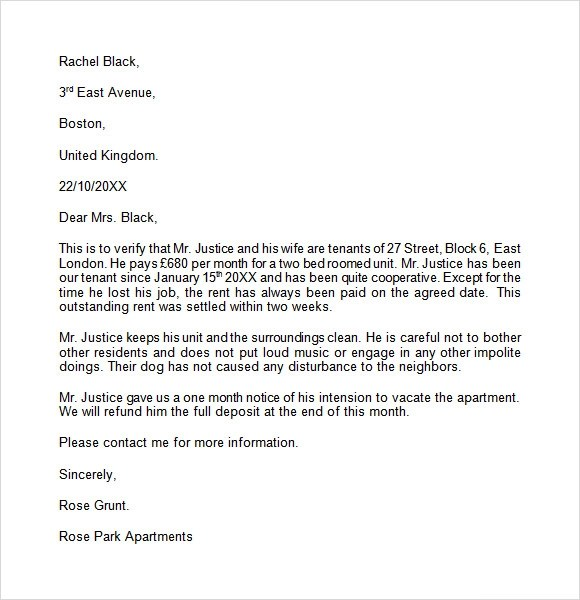 Landlord Reference Letter Template - 8+ Download Free Documents in - landlord reference letter