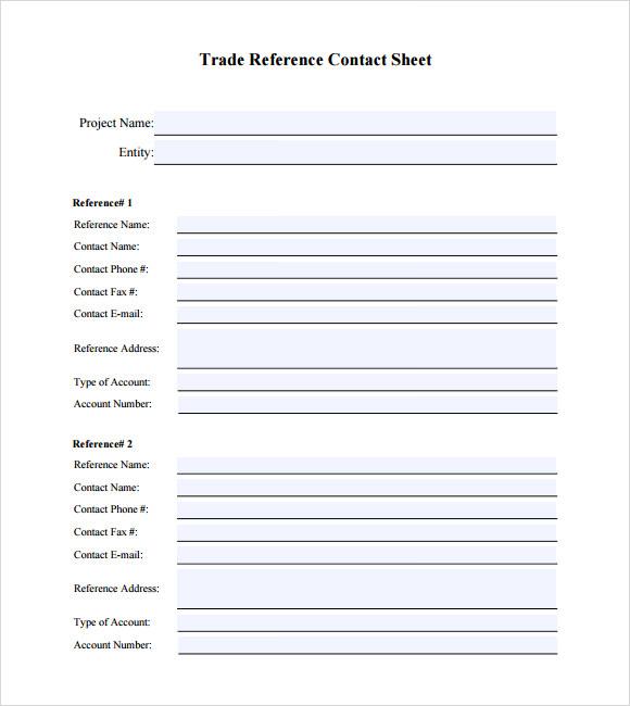 6+ Sample Trade Reference Templates - PDF