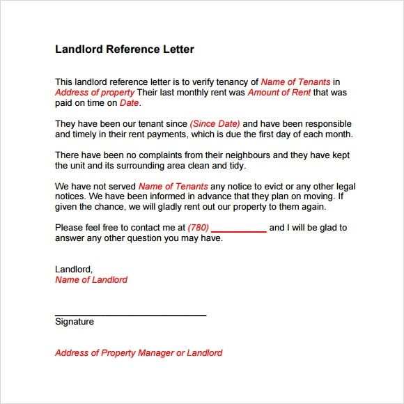 Letters Of Recommendation Landlord Reference Letter Template 8 Download Free