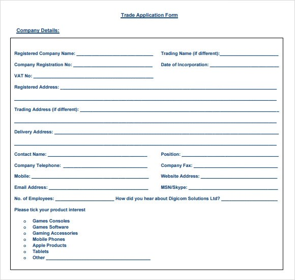 Sample Trade Reference - 5+ Documents in PDF - company forms templates