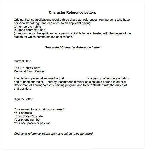 10 Character Reference Letter Templates Download for Free Sample - personal reference letter sample