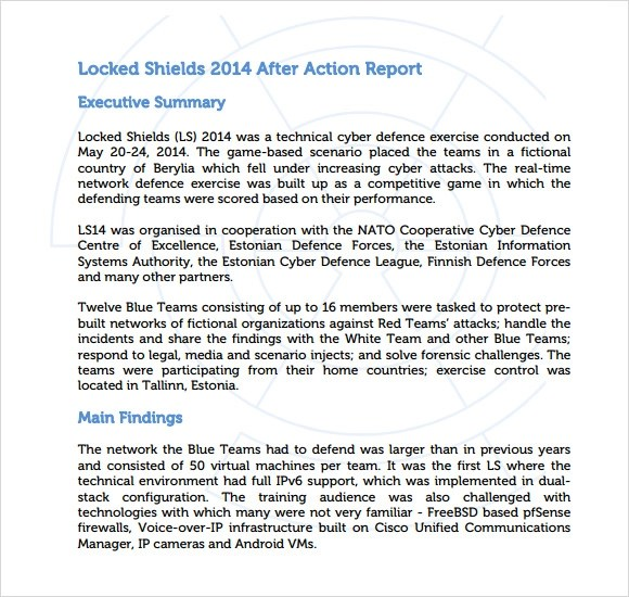 Sample After Action Report - 5+ Documents In PDF
