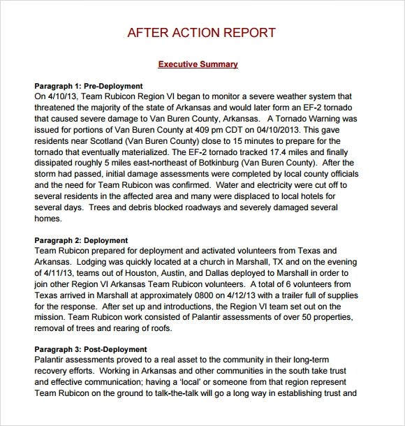 Sample After Action Report Template  PLN9 Security Services