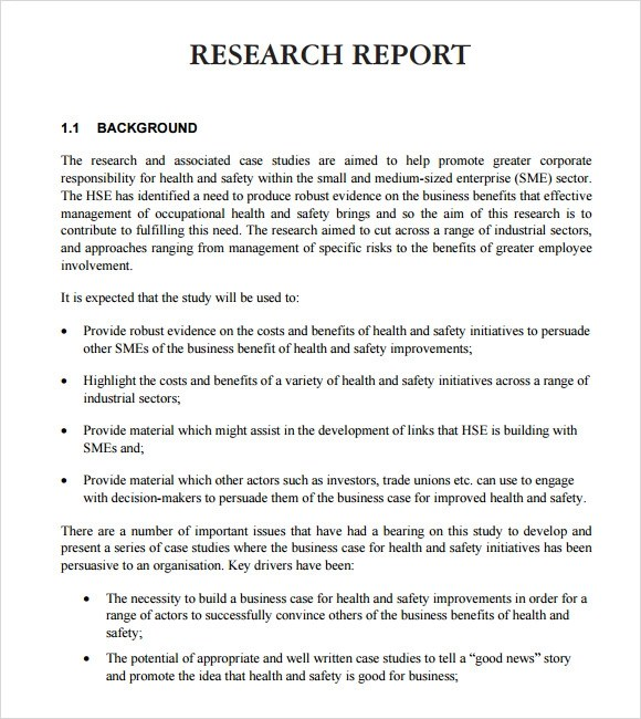 research report samples - Ozilalmanoof