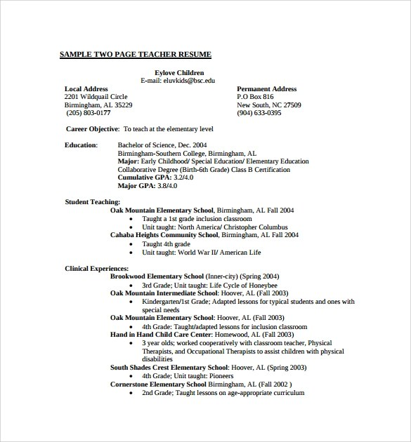 9+ Teaching CV Templates for Free Download Sample Templates - student teaching resume samples