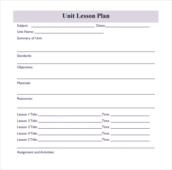 Lesson Plan Blank - Blank Lesson Plan Template