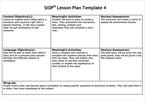 9+ SIOP Lesson Plan Samples Sample Templates - Sample Siop Lesson Plan Template