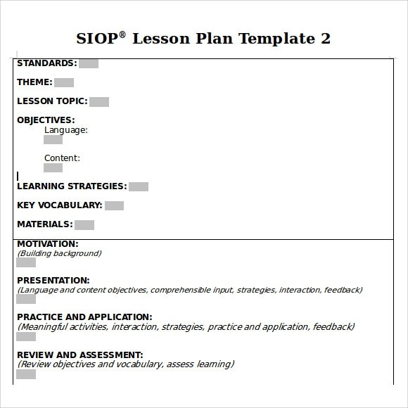 9+ SIOP Lesson Plan Samples Sample Templates