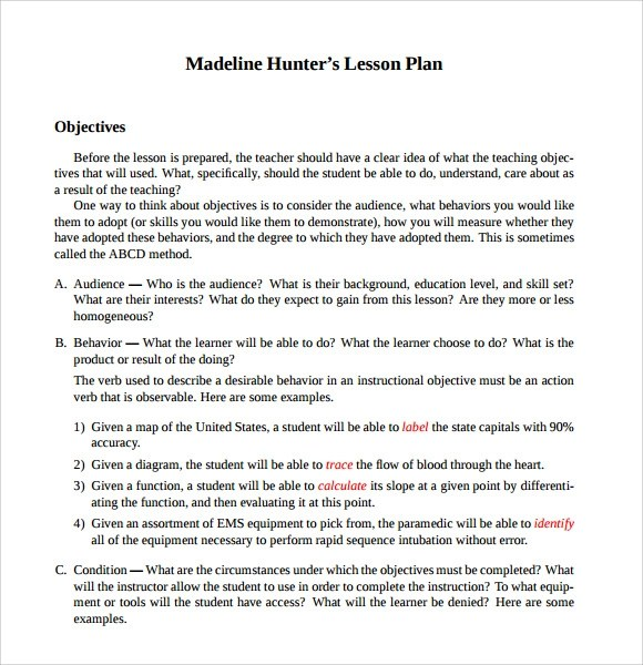 9 Madeline Hunter Lesson Plan Templates Download for Free Sample
