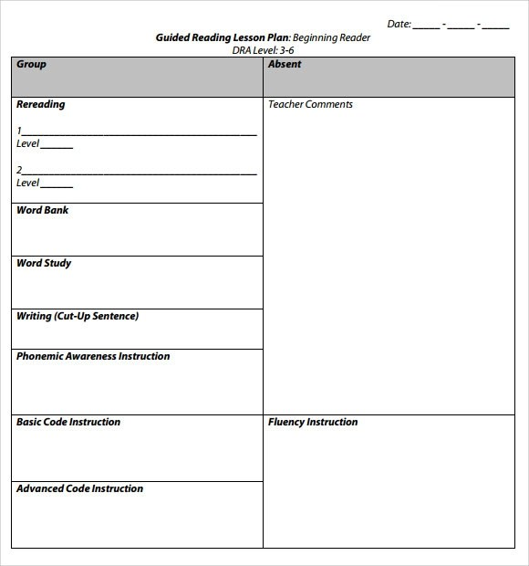 9+ Sample Guided Reading Lesson Plans Sample Templates - Guided Reading Lesson Plan Template