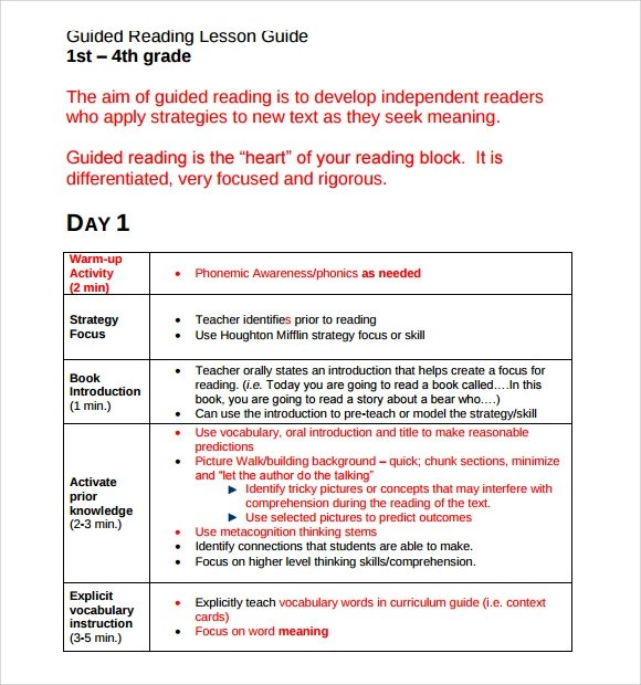 Marketing Plan Sample 5 Simple Steps To Market Any Sample Guided Reading Lesson Plan 8 Documents In Pdf