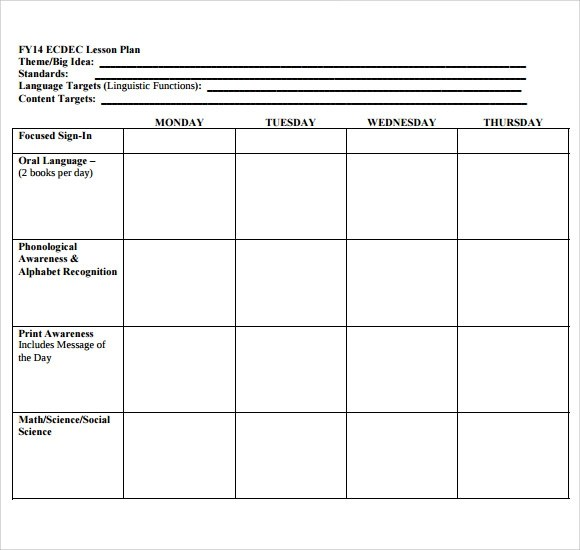Sample Blank Lesson Plan - 10+ Documents in PDF - preschool lesson plan template