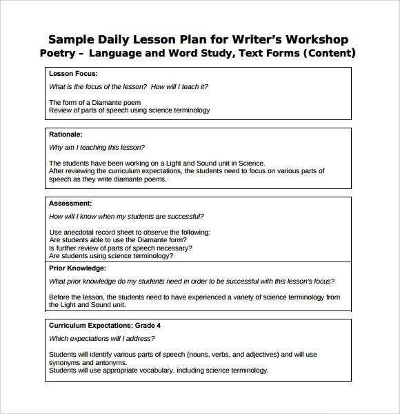 Sample Daily Lesson Plan - 8+ Documents in PDF, Word