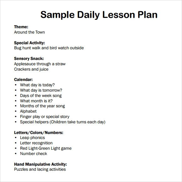 7+ Sample Daily Lesson Plans Sample Templates - lesson plan outline