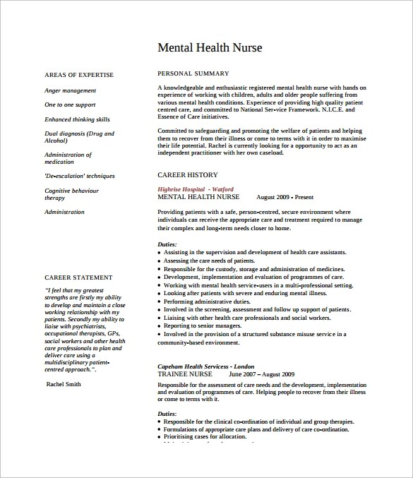 mental health nurse cv