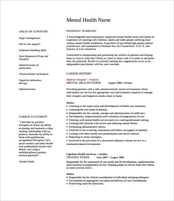 free cv templates nurse