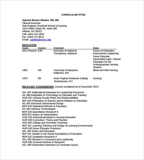 8+ Nursing CV Samples Sample Templates