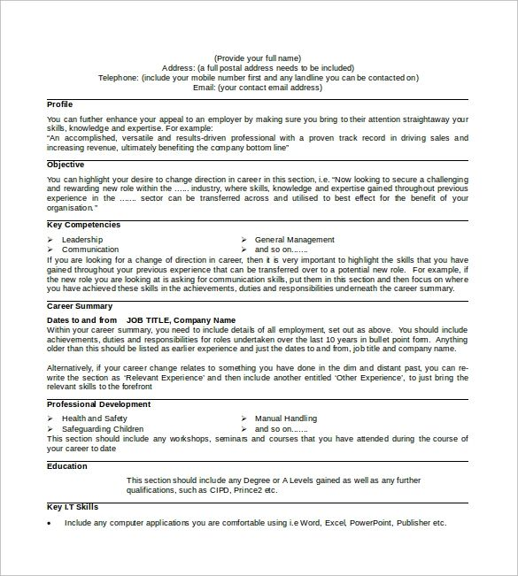 cv sample doc download