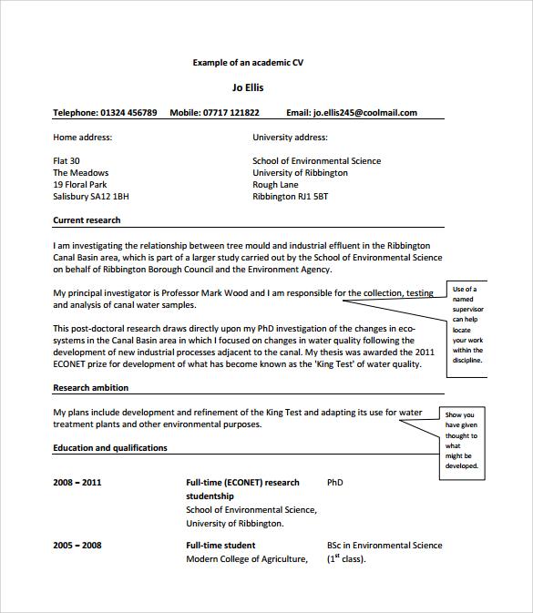 template for academic cv xv-gimnazija
