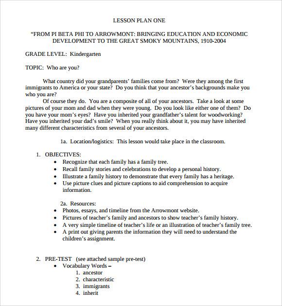 8 Kindergarten Lesson Plan Templates for Free Download Sample - lesson plan words