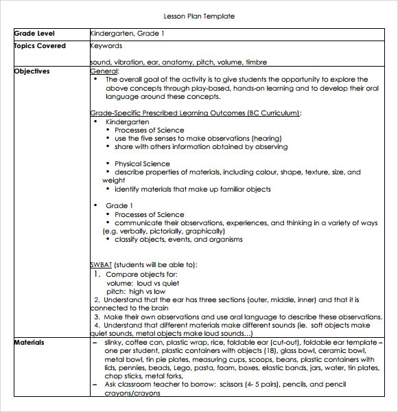 Sample Kindergarten Lesson Plan Template - 8+ Free Documents in PDF