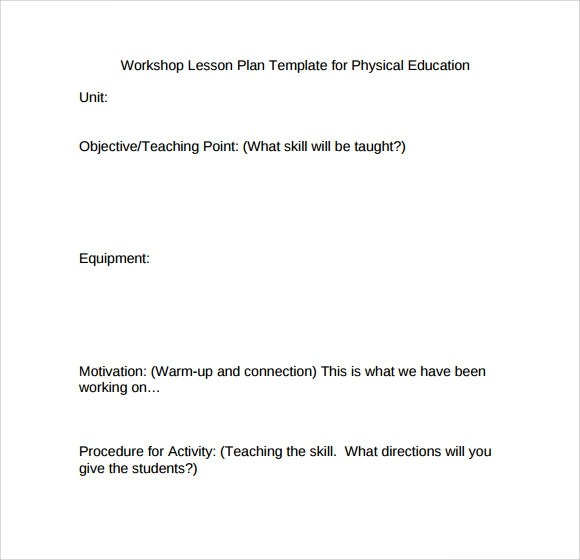 Sample Physical Education Lesson Plan Template - 6+ Free Documents