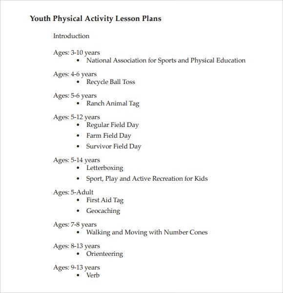 Physical Education Lesson Plan Template Simple Pdf Physical