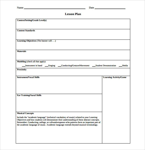 sample music lesson plan template