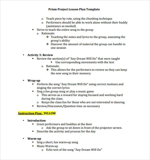 9 Music Lesson Plan Templates Download for Free Sample Templates