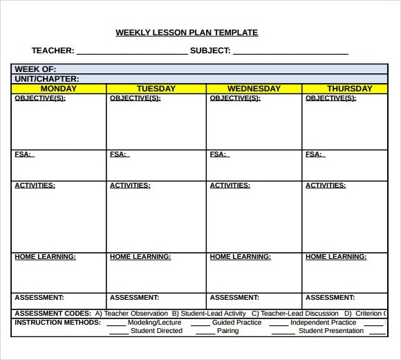 Lesson Plan Template Printable Blank Weekly Lesson Plan Template - sample weekly lesson plan