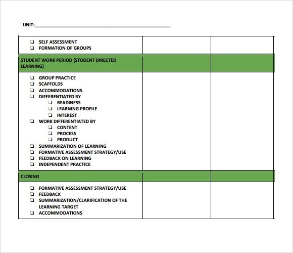 Sample Unit Lesson Plan - 7+ Documents in PDF, Word