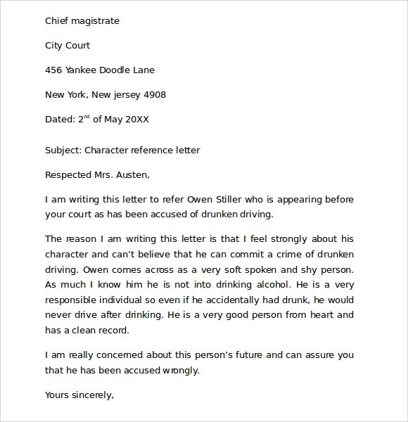 Character Reference Letter For Parent Seeking Child Sample Character Reference Letter For Court 6 Documents