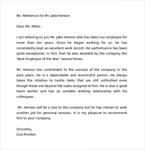 Letters Of Recommendation Reference Letter Format 9 Download Free Documents In