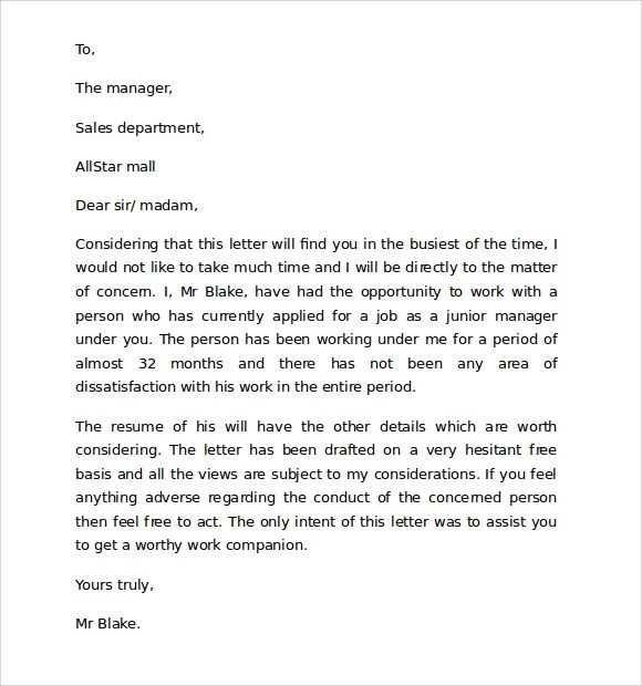 Reference Letter College Reference Letter For A Reference Letter Format 9 Download Free Documents In