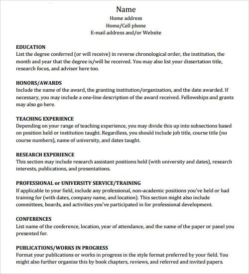 academic cv templates samples - Academic Cv Template