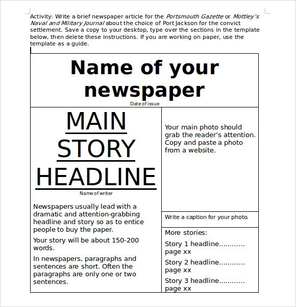 ms word newspaper template template