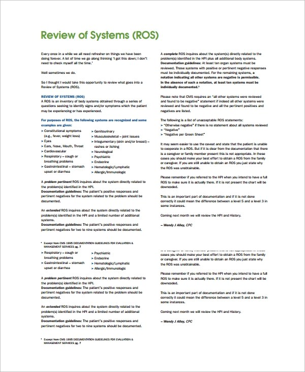 8 Sample Review Of System Templates Sample Templates