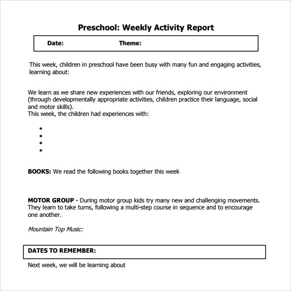 Sample Weekly Activity Report - 17+ Documents in Word, PDF