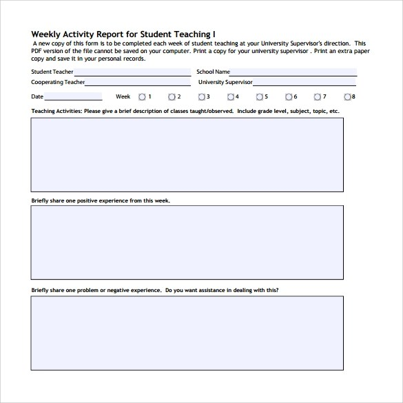 Weekly Activity Report Template  Calendars and Schedules / Bell