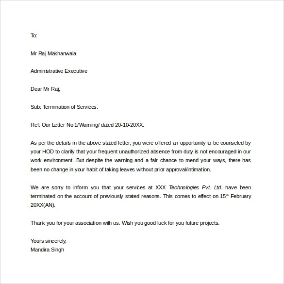 8 Job Termination Letters to Download for Free Sample Templates