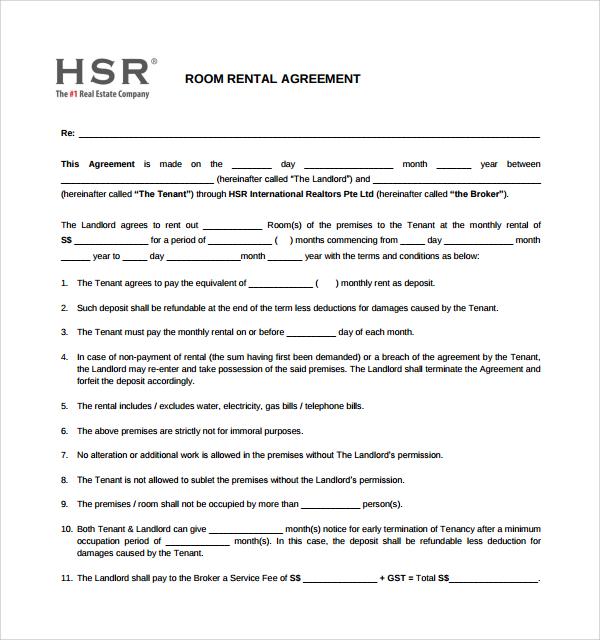 Room Rental Agreement - 17+ Download Free Documents In PDF , WORD - printable rental agreements