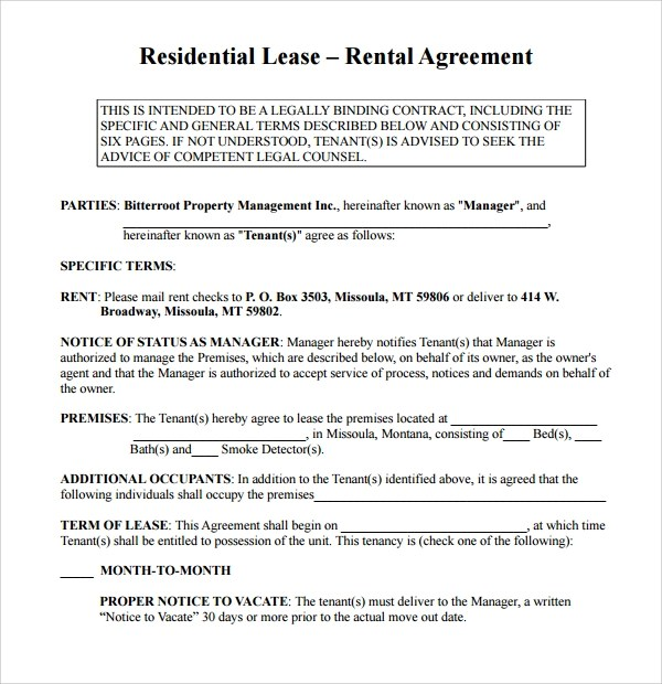 10 Simple Rental Agreement Templates Download for Free Sample - lease rental agreement