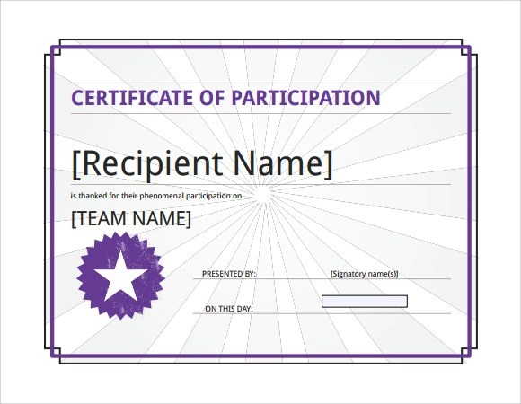 Certificate Of Participation Template Word Free – Certificate of Participation Template