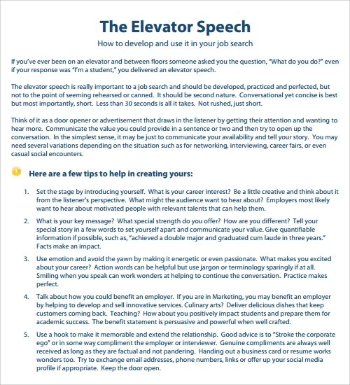 Elevator Pitch Example For College Students elevator speech examples