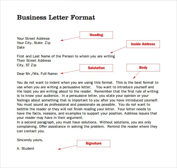 9 Parts of a Business Letters to Download Sample Templates - parts of a business letter