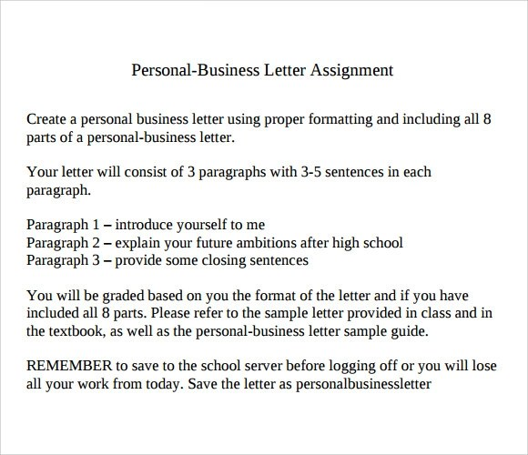 10+ Sample Personal Business Letters Sample Templates - assignment letter