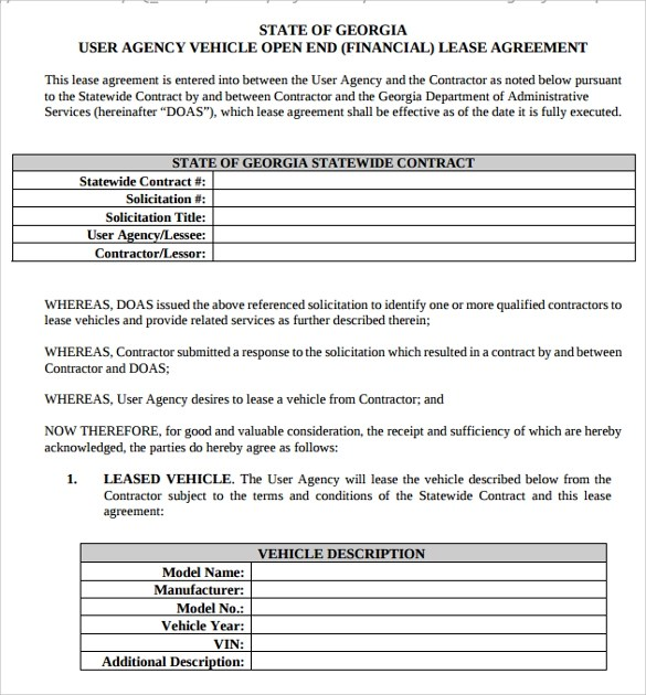 Sample Vehicle Lease Agreement Templates - 10+ Free Download - commercial truck lease agreement